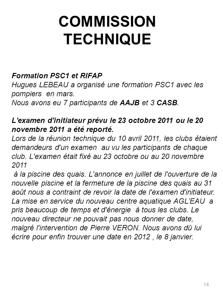 COMMISSION TECHNIQUE Formation PSC1 et RIFAP