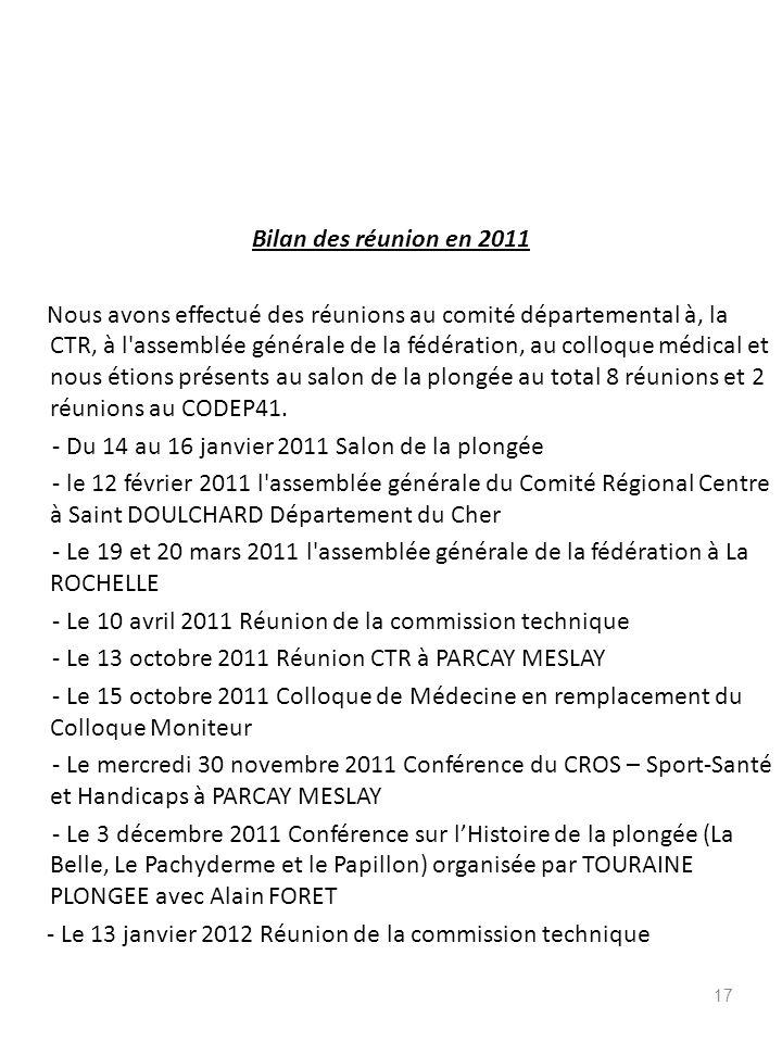 Bilan des réunion en 2011