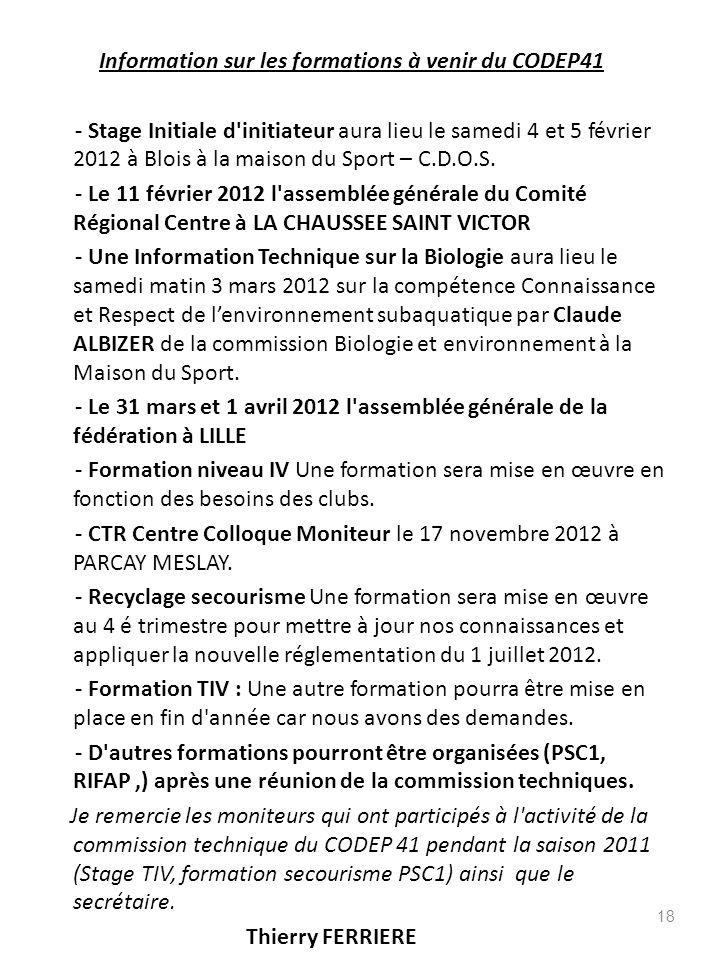 Information sur les formations à venir du CODEP41