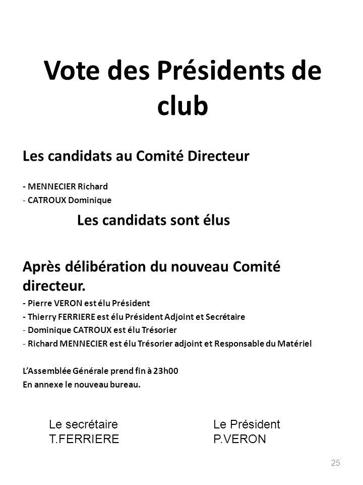 Vote des Présidents de club