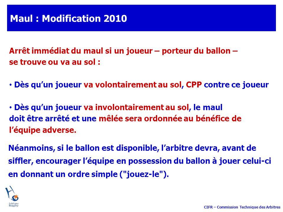 Maul : Modification 2010 Arrêt immédiat du maul si un joueur – porteur du ballon – se trouve ou va au sol :
