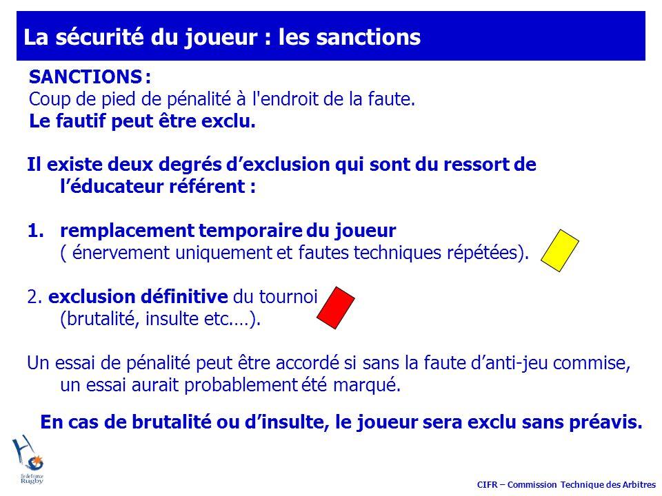 La sécurité du joueur : les sanctions
