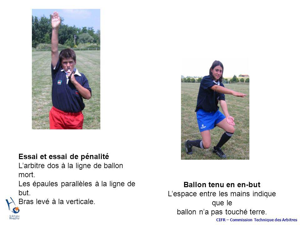 Essai et essai de pénalité L'arbitre dos à la ligne de ballon mort.