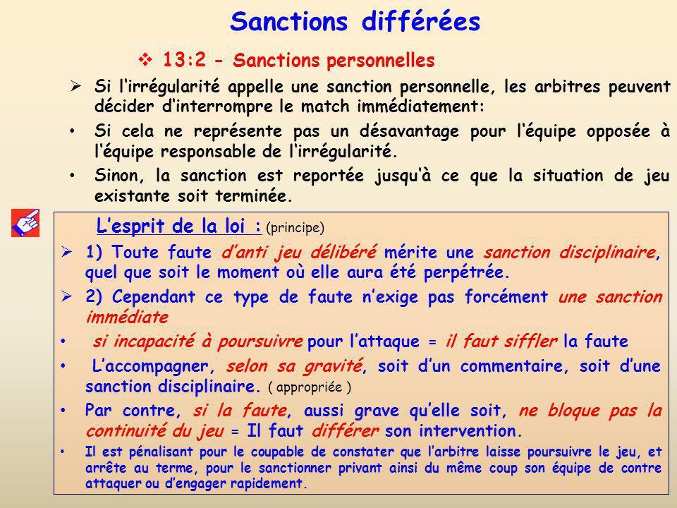 Sanctions différées 13:2 - Sanctions personnelles