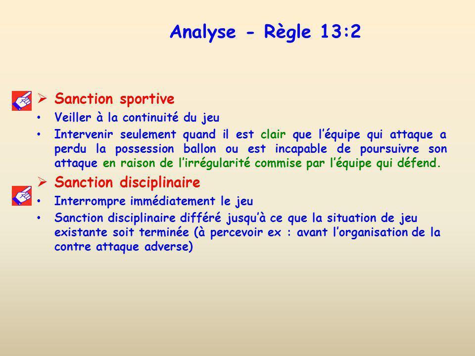 Analyse - Règle 13:2 Sanction sportive Sanction disciplinaire