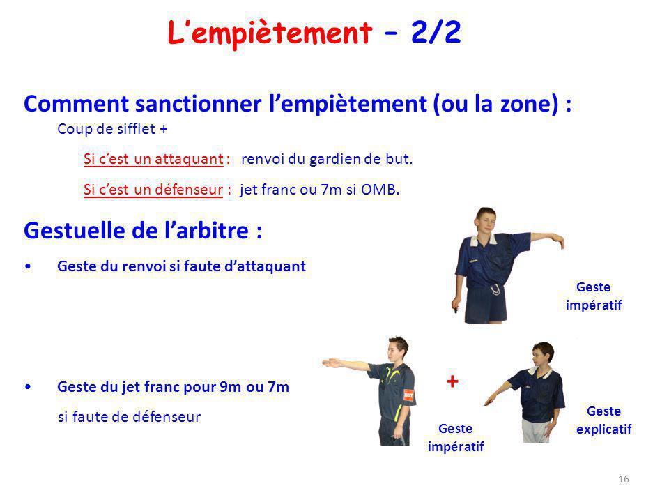 L'empiètement – 2/2 Comment sanctionner l'empiètement (ou la zone) : Coup de sifflet + Si c'est un attaquant : renvoi du gardien de but.
