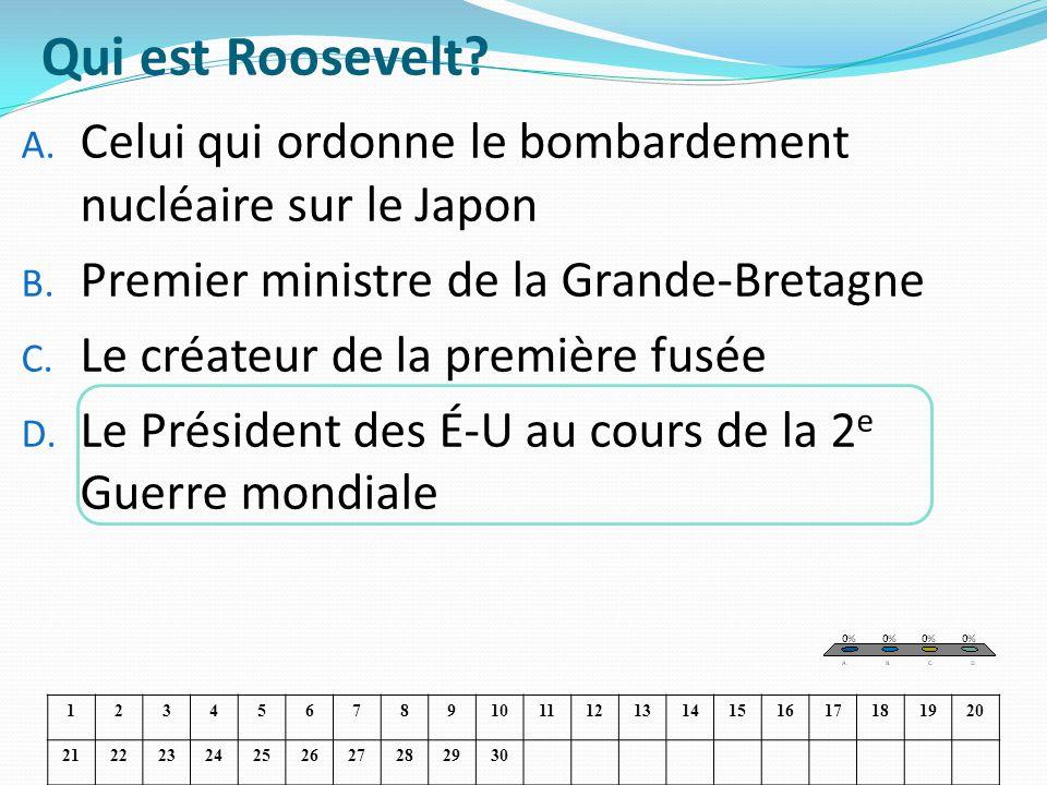 Qui est Roosevelt Celui qui ordonne le bombardement nucléaire sur le Japon. Premier ministre de la Grande-Bretagne.
