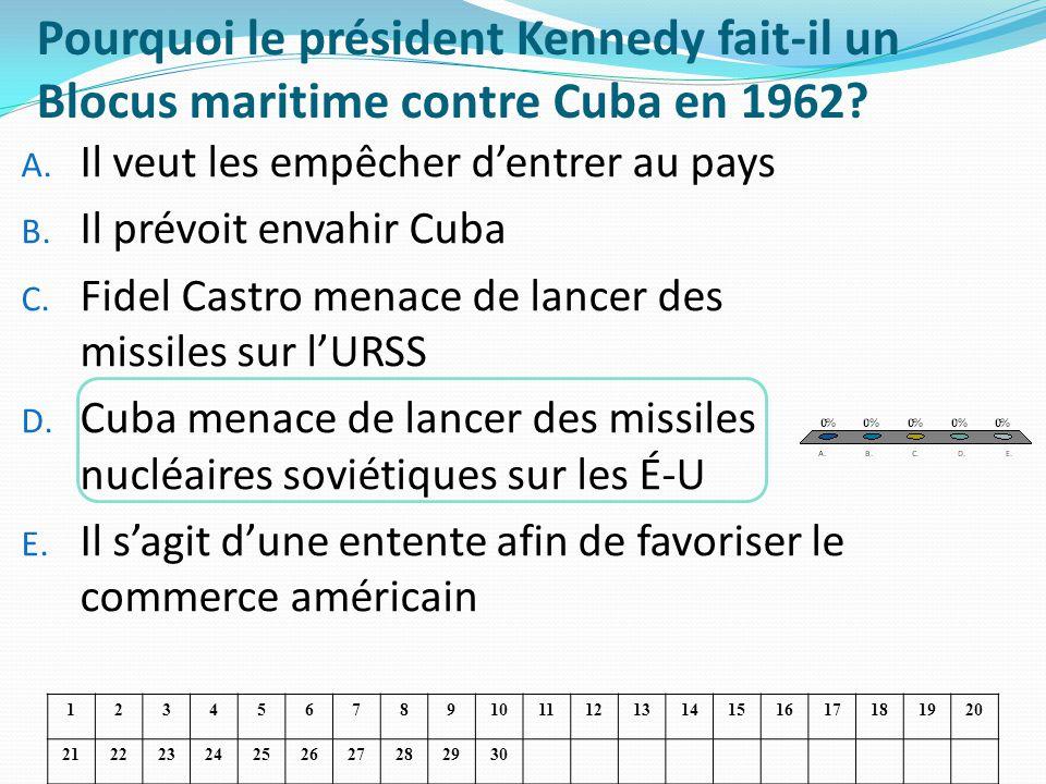 Pourquoi le président Kennedy fait-il un Blocus maritime contre Cuba en 1962