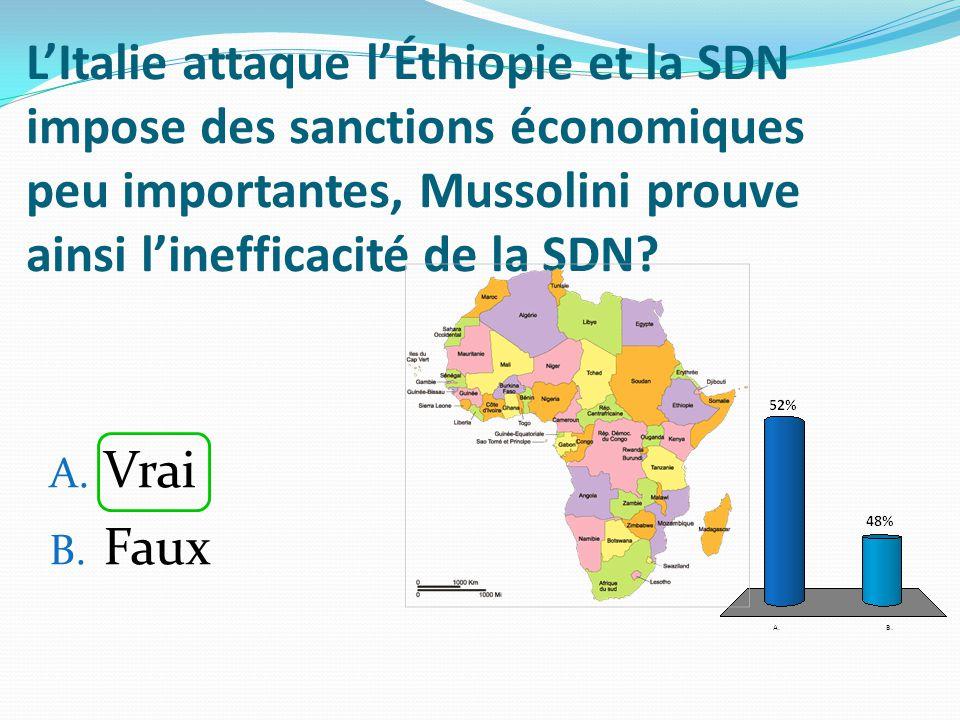 L'Italie attaque l'Éthiopie et la SDN impose des sanctions économiques peu importantes, Mussolini prouve ainsi l'inefficacité de la SDN