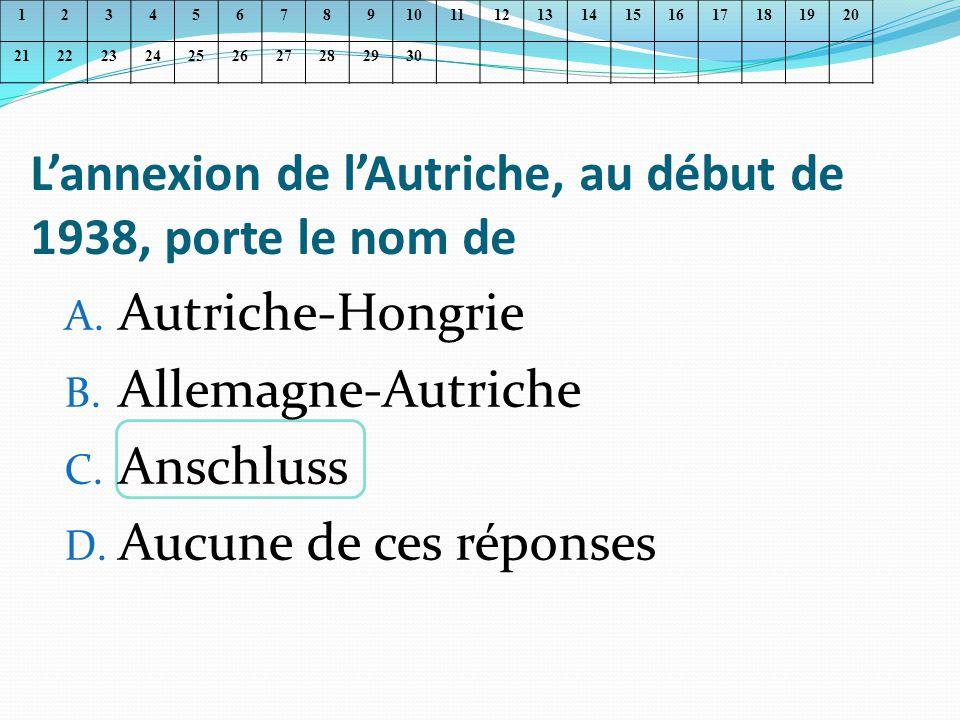 L'annexion de l'Autriche, au début de 1938, porte le nom de
