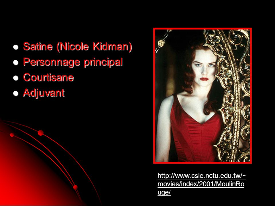 Satine (Nicole Kidman) Personnage principal Courtisane Adjuvant