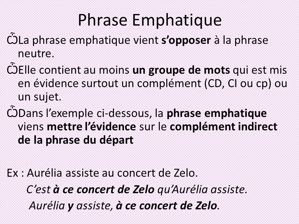 Phrase Emphatique La phrase emphatique vient s'opposer à la phrase neutre.