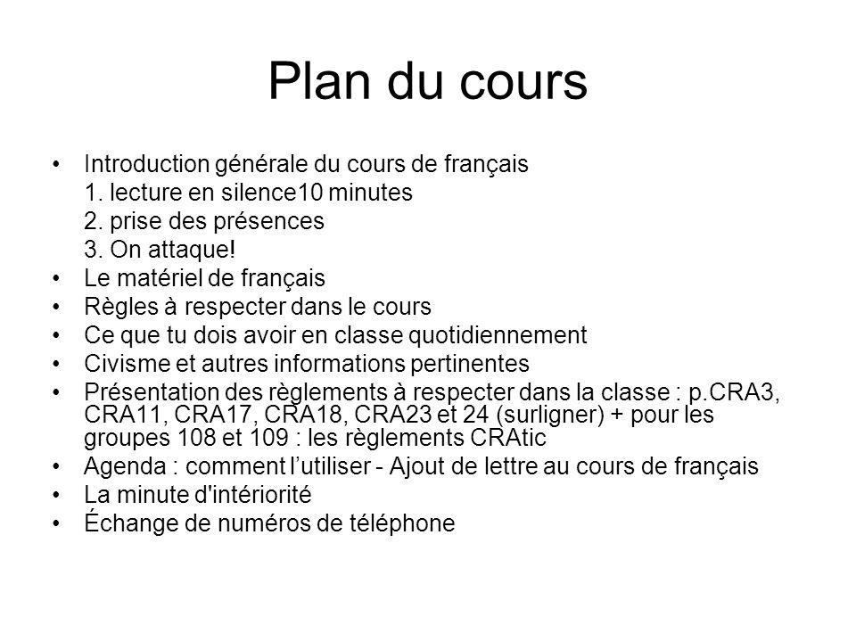 Plan du cours Introduction générale du cours de français