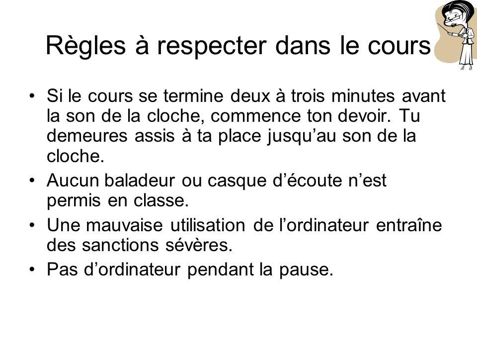 Règles à respecter dans le cours