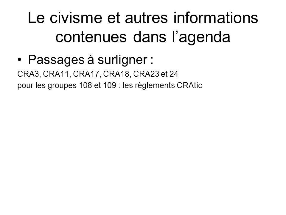 Le civisme et autres informations contenues dans l'agenda