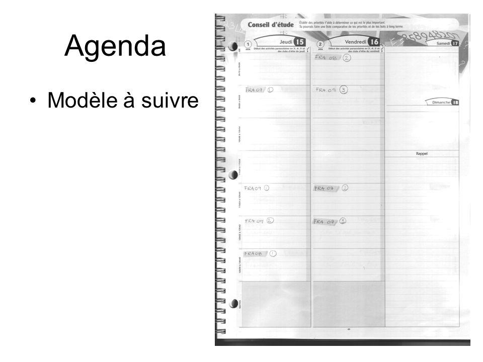 Agenda Modèle à suivre