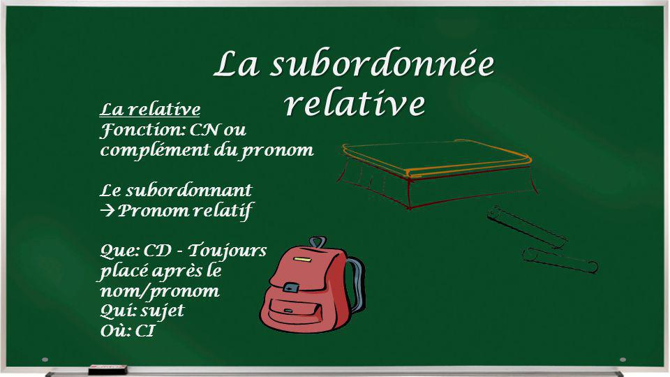 La subordonnée relative
