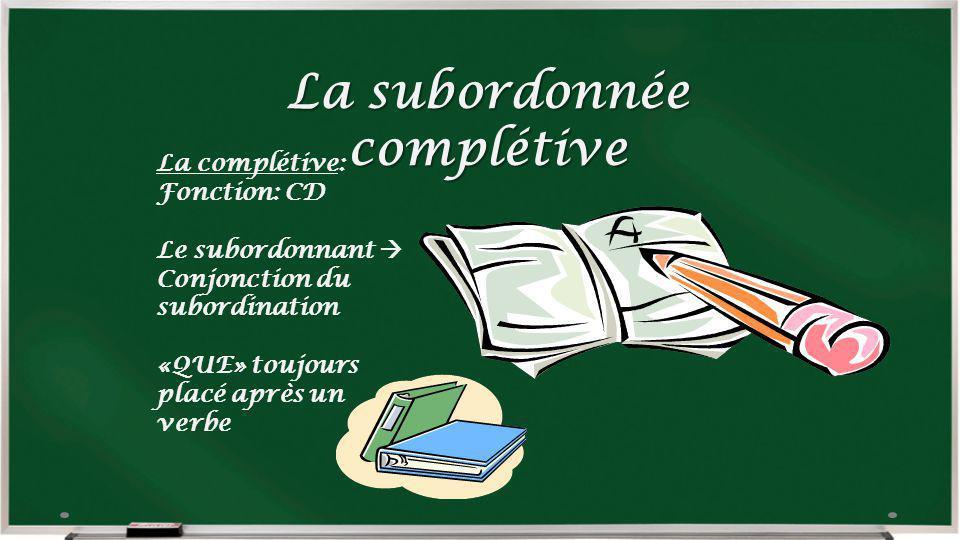 La subordonnée complétive