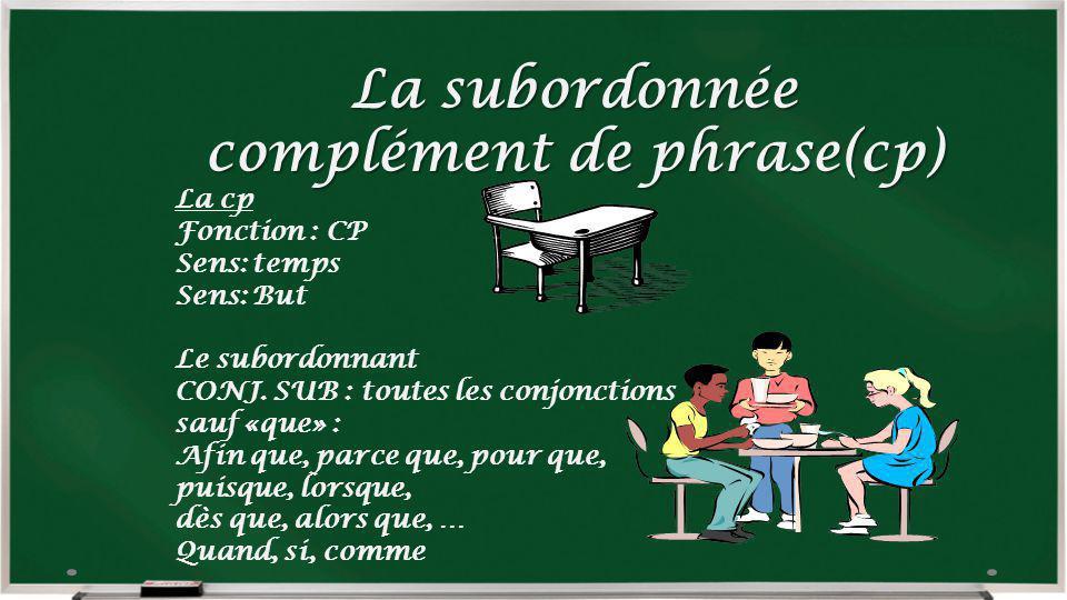 La subordonnée complément de phrase(cp)
