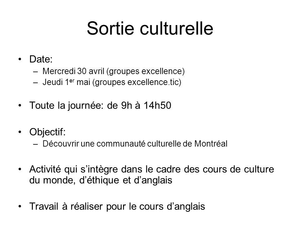 Sortie culturelle Date: Toute la journée: de 9h à 14h50 Objectif: