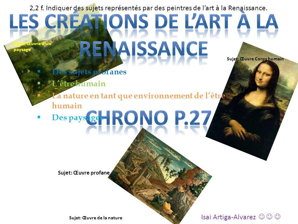 Les créations de l'art à la renaissance