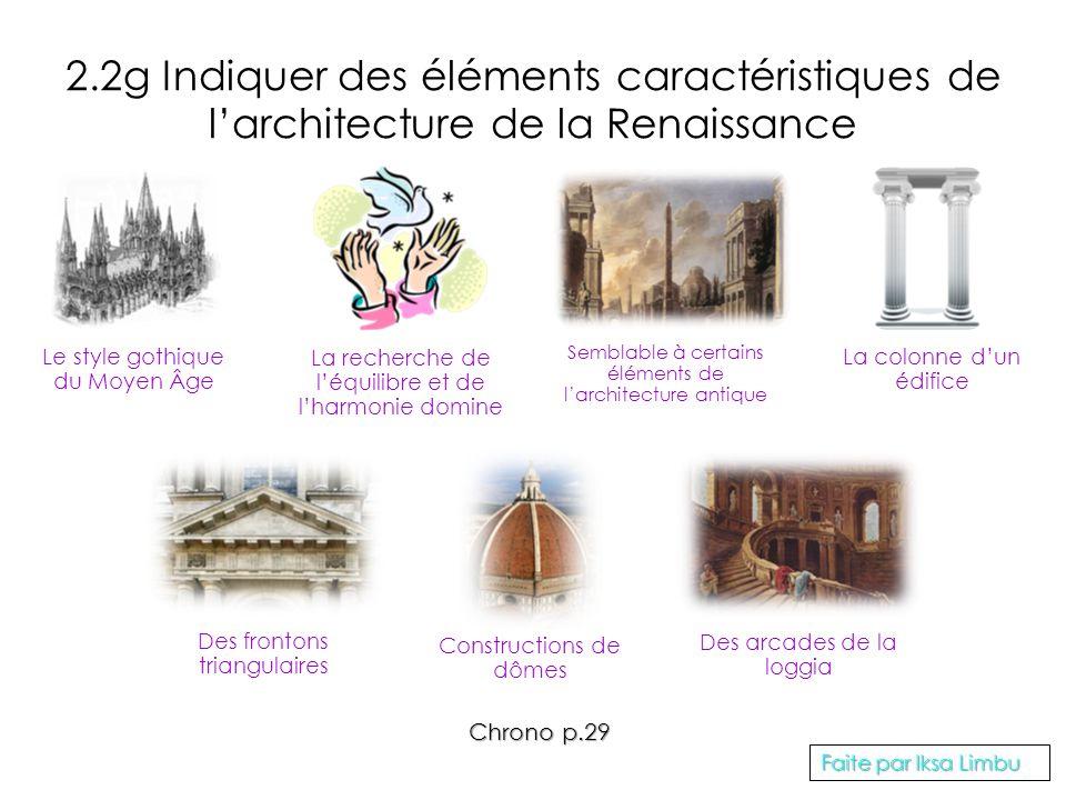 2.2g Indiquer des éléments caractéristiques de l'architecture de la Renaissance