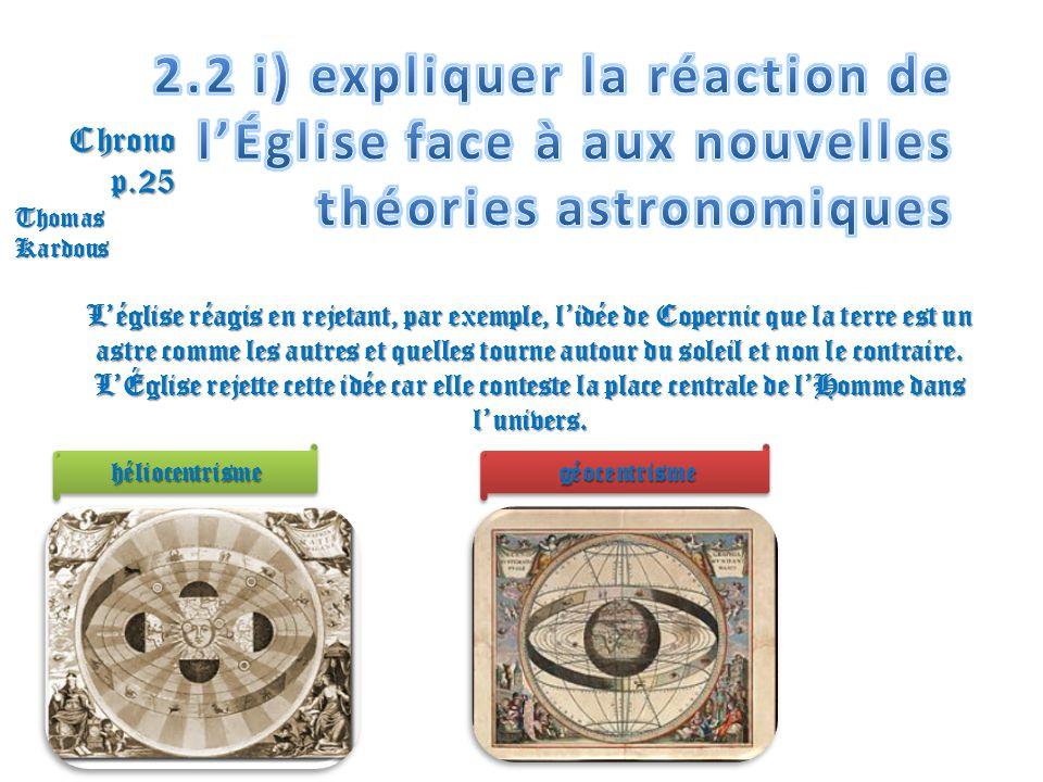 2.2 i) expliquer la réaction de l'Église face à aux nouvelles théories astronomiques