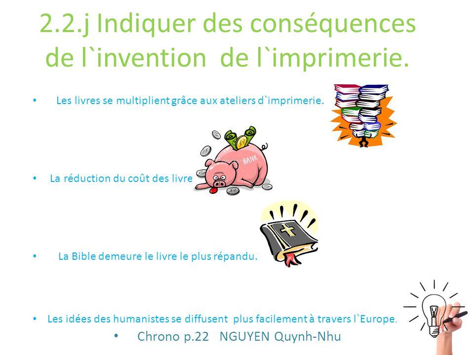 2.2.j Indiquer des conséquences de l`invention de l`imprimerie.