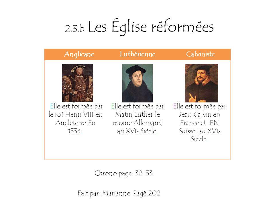 2.3.b Les Église réformées Anglicane Luthérienne Calviniste