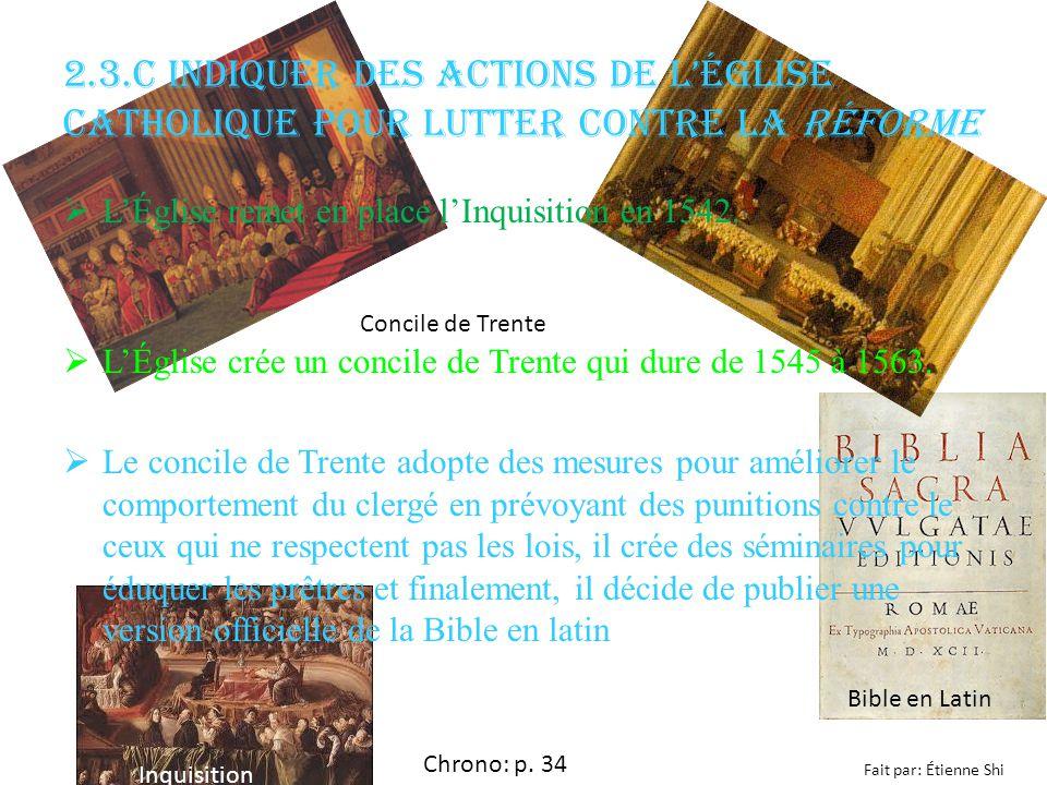 2.3.c Indiquer des actions de l'Église catholique pour lutter contre la Réforme