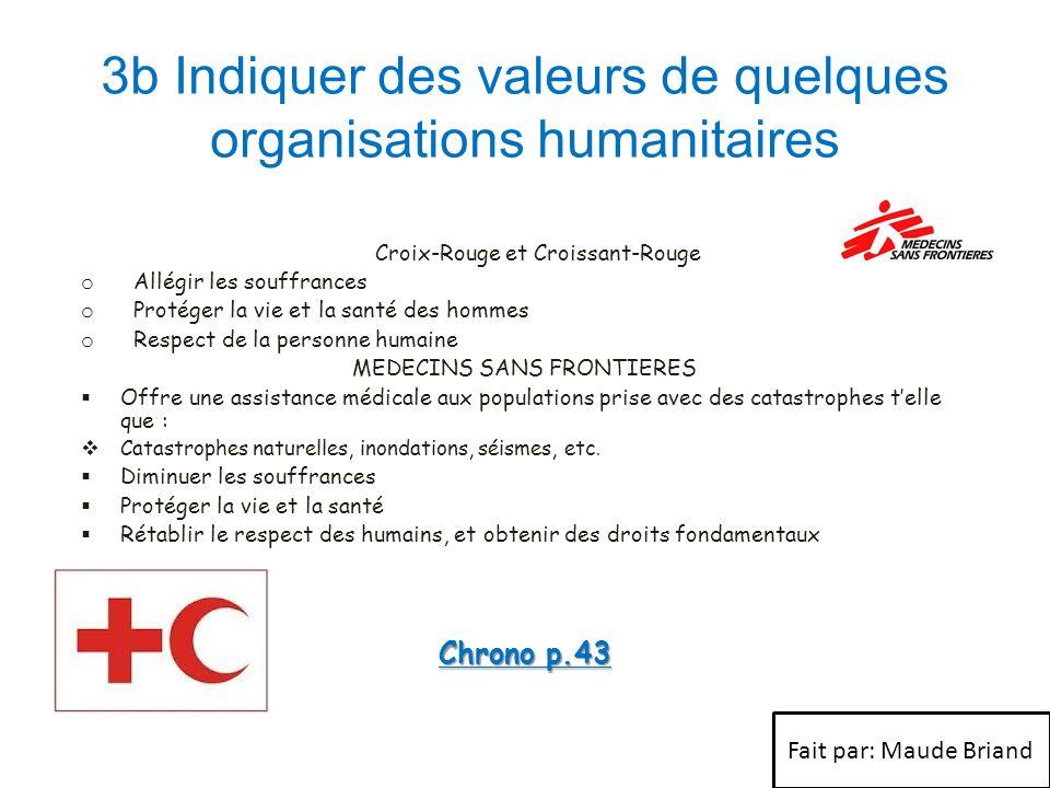 3b Indiquer des valeurs de quelques organisations humanitaires