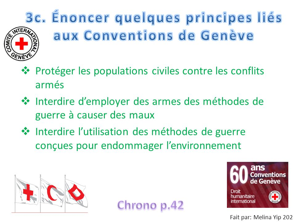 3c. Énoncer quelques principes liés aux Conventions de Genève