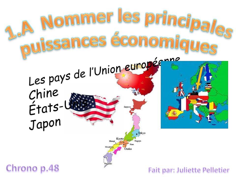 Les pays de l'Union européenne Chine États-Unis Japon