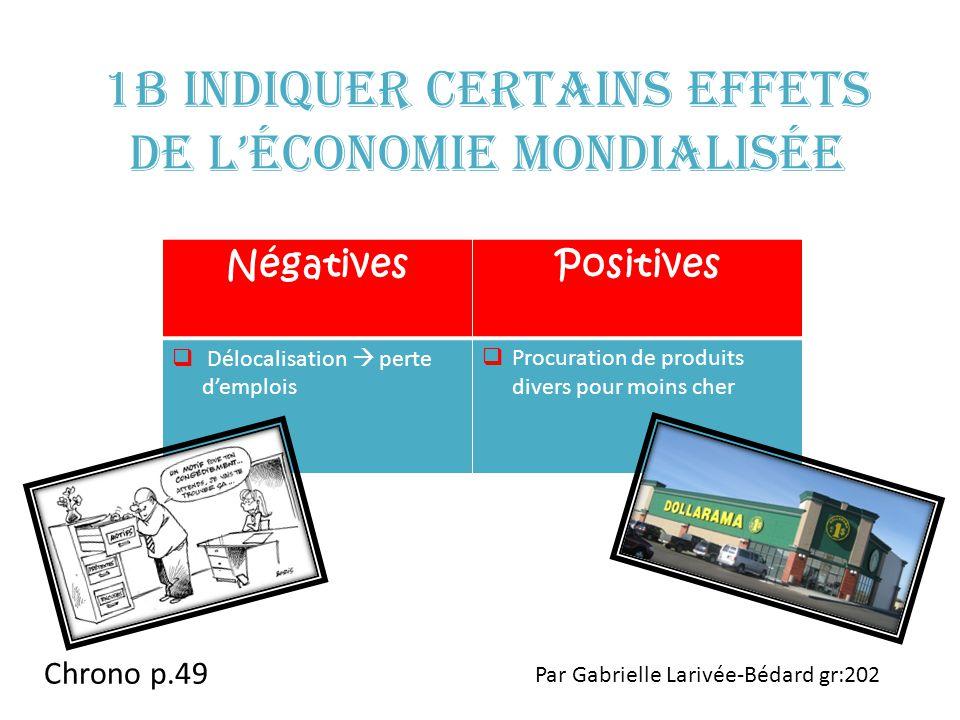1b Indiquer certains effets de l'économie mondialisée