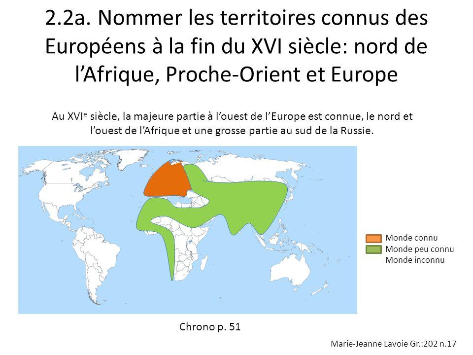 2.2a. Nommer les territoires connus des Européens à la fin du XVI siècle: nord de l'Afrique, Proche-Orient et Europe