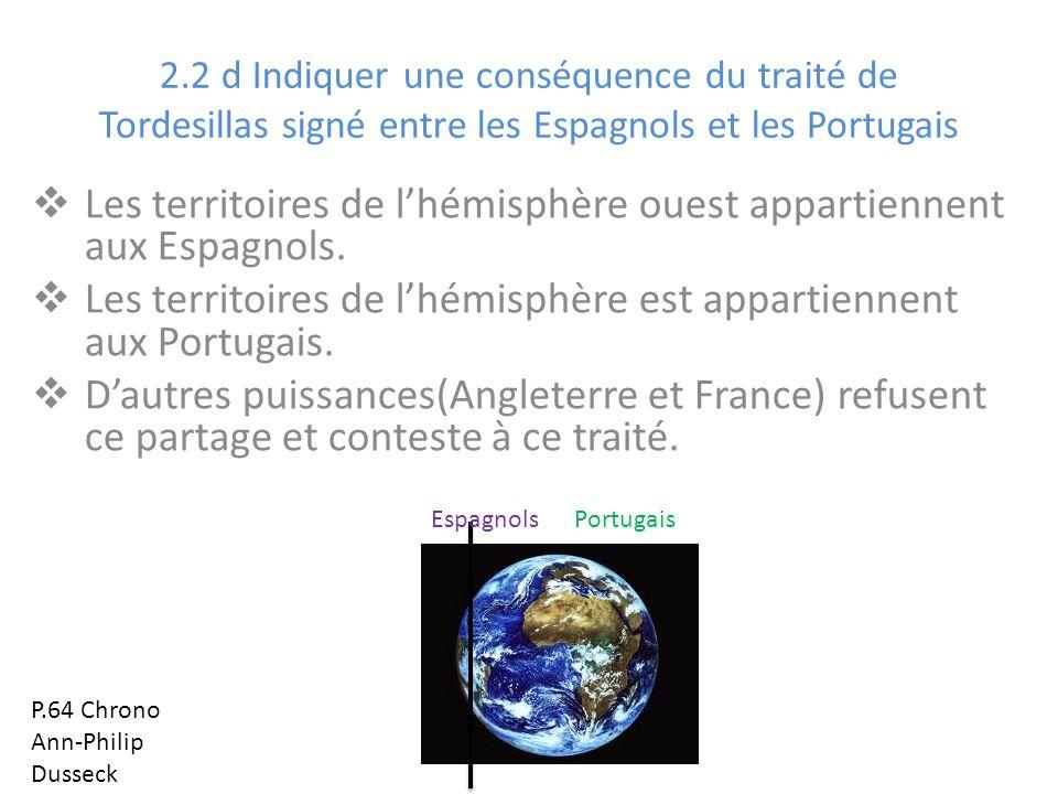 Les territoires de l'hémisphère ouest appartiennent aux Espagnols.
