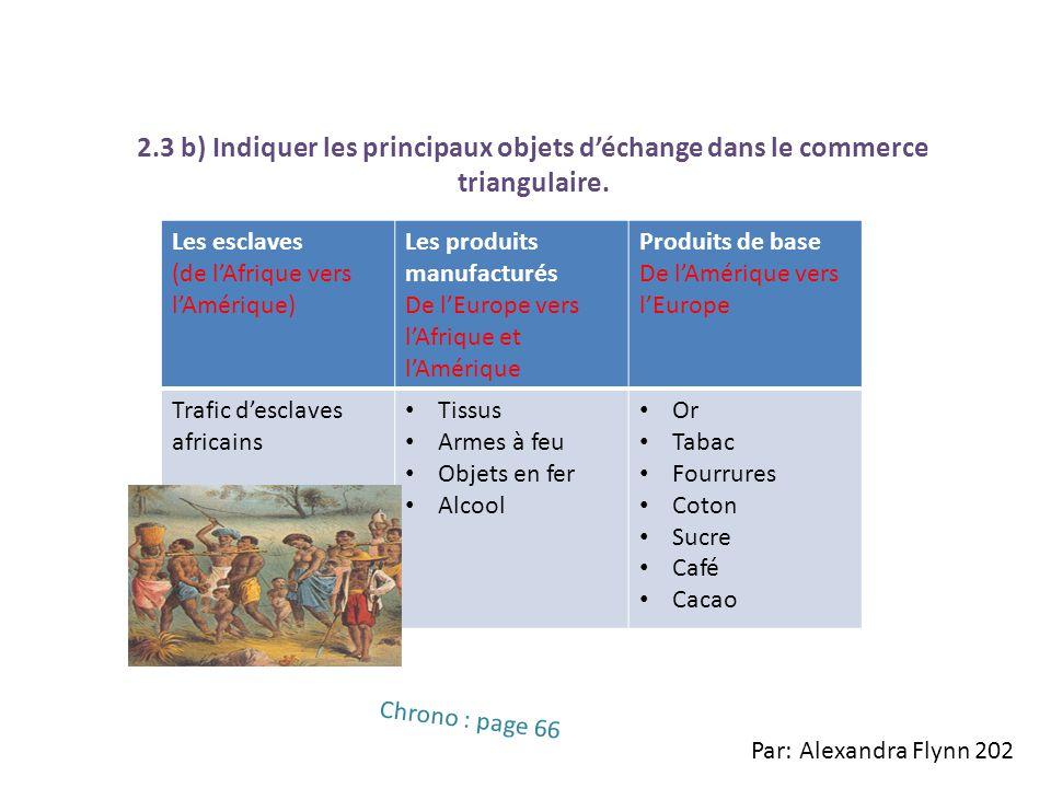2.3 b) Indiquer les principaux objets d'échange dans le commerce triangulaire.