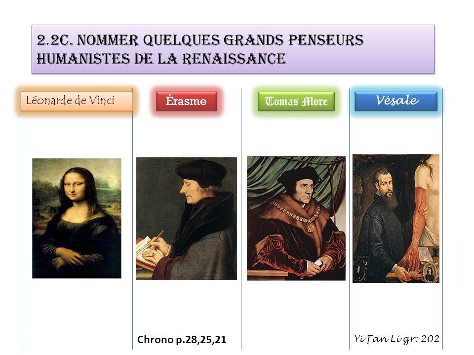 2.2c. Nommer quelques grands penseurs humanistes de la Renaissance