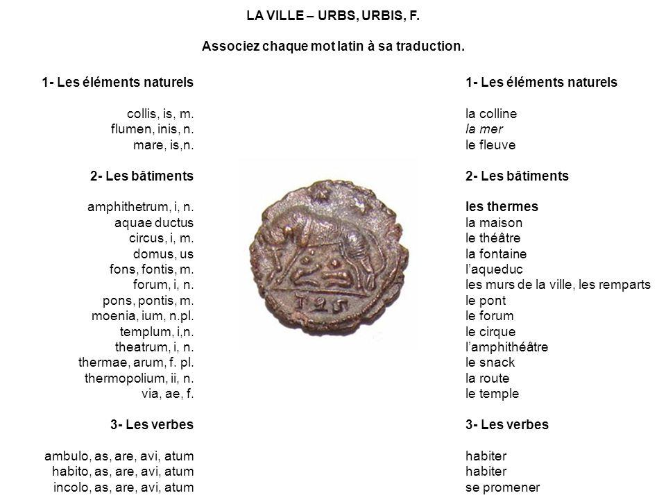 Associez chaque mot latin à sa traduction.