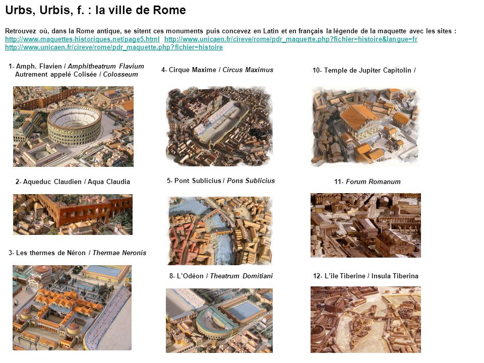Urbs, Urbis, f. : la ville de Rome