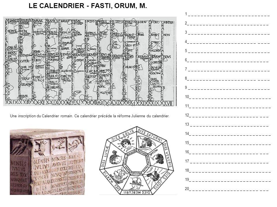 LE CALENDRIER - FASTI, ORUM, M.