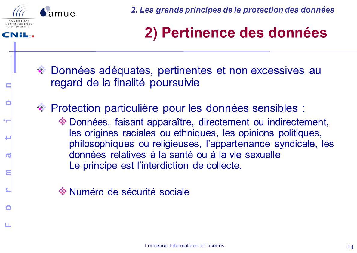 2) Pertinence des données