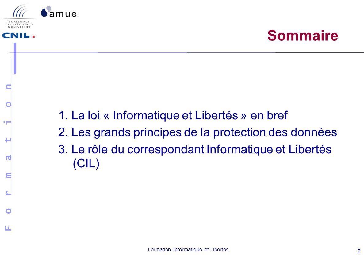 Sommaire 1. La loi « Informatique et Libertés » en bref