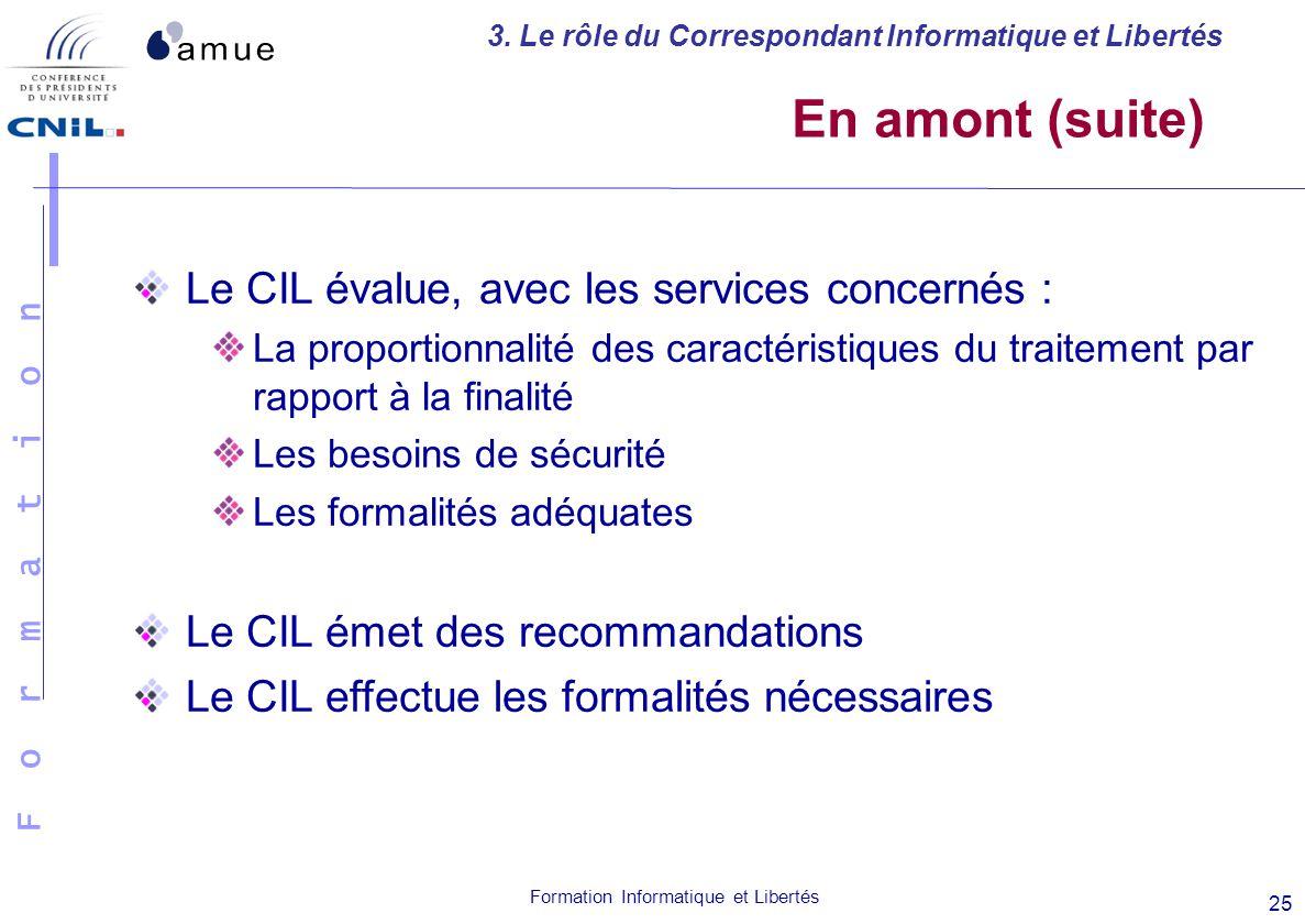 En amont (suite) Le CIL évalue, avec les services concernés :