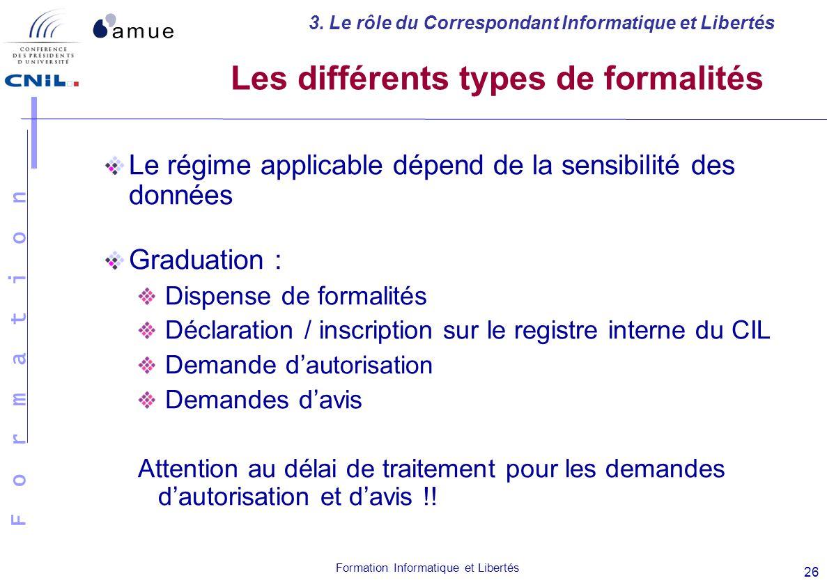 Les différents types de formalités