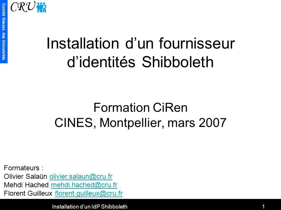 Installation d'un fournisseur d'identités Shibboleth