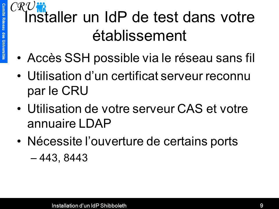 Installer un IdP de test dans votre établissement