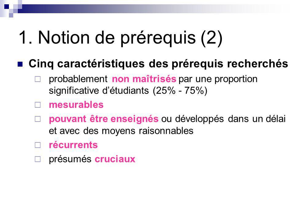 1. Notion de prérequis (2) Cinq caractéristiques des prérequis recherchés.