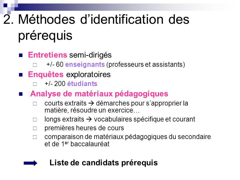 2. Méthodes d'identification des prérequis