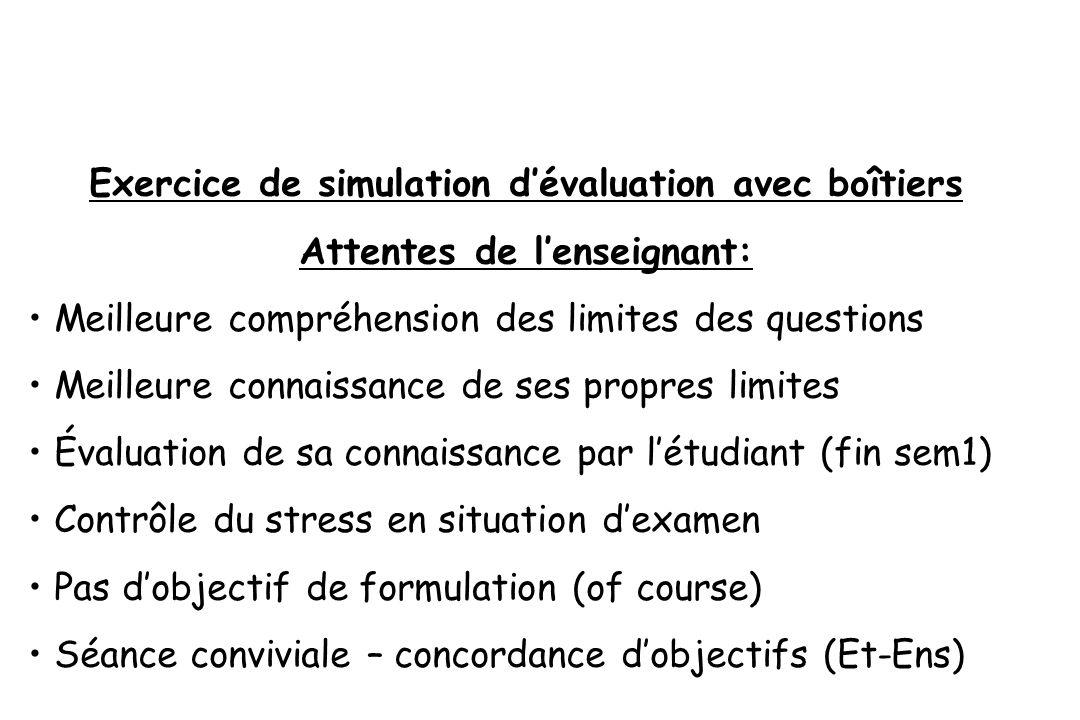Exercice de simulation d'évaluation avec boîtiers